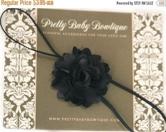 SALE Baby Girl Headband - Small Black Flower On A Thin Stretch Headband- Baby Girl Headband
