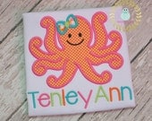 Girl Octopus shirt - Octopus personalized shirts - Sea Animals - applique personalized shirt  - monogrammed  - toddler - children - babi