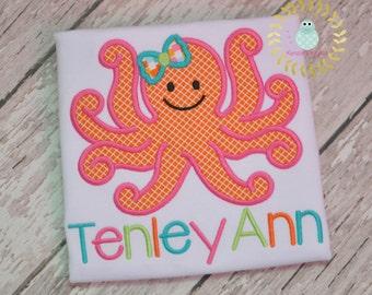 Girl Octopus shirt - Octopus personalized shirts - Sea Animals - applique personalized shirt  - monogrammed  - toddler - children - babi