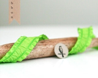 3 Yards of Lime Green Rouched and Ruffled Satin Ribbon Trim 1""