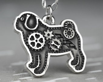 Silver Pug Necklace Steampunk Industrial Sterling Pendant With Gears