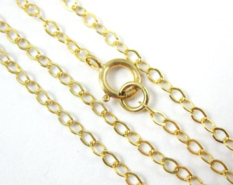 22K gold plated Sterling silver Chain,Necklace -Cable Flat Oval 2.5 by 2mm- Finished Necklace for Pendant - 20 Inch - SKU: 601022-VM