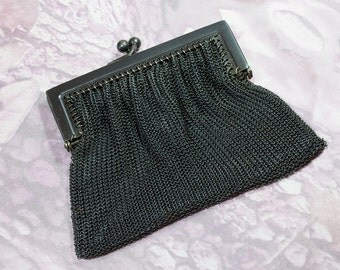 Edwardian Small Gunmetal Steel Mesh Coin Purse .Two Sections , Antique Mourning Purse, Kiss Lock Closure,Gift for Her