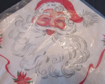 Vintage 1960s Jolly Santa Christmas Paper Napkin Set of 20 Christmas Winter Holiday Dinner Size
