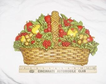 Vintage 70s Fruit Basket Wall Hanging Molded Plastic Homco