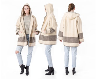 HOODED jacket WINTER coat cream beige stripes Oversize Woolrich vintage Large outerwear hoody / Better Stay Together