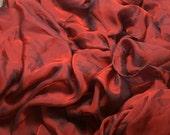 RUST RED Iridescent Silk Chiffon Fabric 1 yard