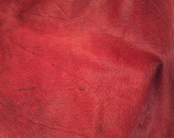 BURGUNDY RED Hair on Cow Hide Furry Leather Piece #5