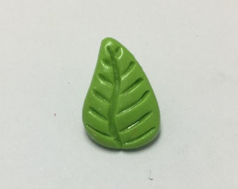 Leaf - Bright Green - Hand Made Clay Button