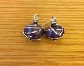 Silver wrapped glass bead earrings