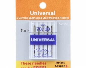 Klasse Carded Universal Machine Needle Size 10/70 5ct