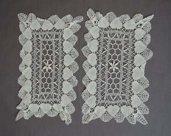 Vintage 1940s 2 Heart Doilies, Tatted Crochet,  1940s Heart Doily Set
