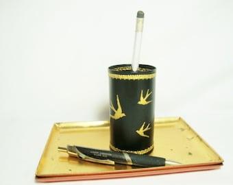 vintage birds pencil cup mid century black plastic gold swallows