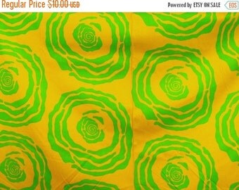 NOW ON SALE vintage fabric - bold golden yellow and green - 1.5 metres - 47 x 59 inch