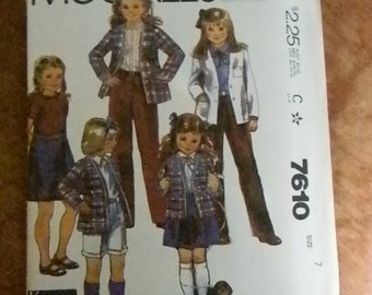Vintage McCall's Girls Jacket, Skirt, Pants and Shorts Pattern #7610, Uncut Size 7