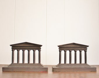 Vintage bronze Parthenon bookends