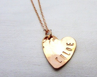 Rose Gold Heart Necklace | Custom Name Charm | 14k Rose Gold Filled | Personalized by E. Ria Designs