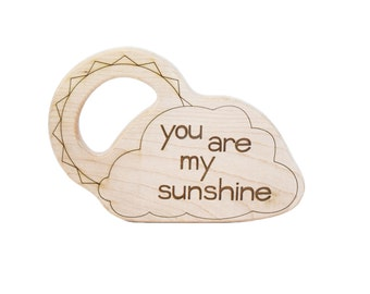 You Are My Sunshine Wood Toy Teether - Wooden Teether - Baby Teether - Personalized Teether - Handmade Wooden Toys - Sunshine Toy -TE40