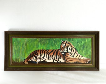Fantastic 70's Vintage Bengal Tiger Painting 34 x 14