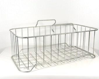 Vintage Industrial Metal Wire Basket with Handles