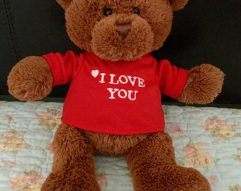 Vintage Gund Teddy Bear 319714 I Love You T-shirt