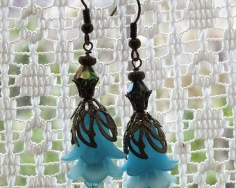 Turquoise Lucite Flower Earrings with Swarovski Crystals.