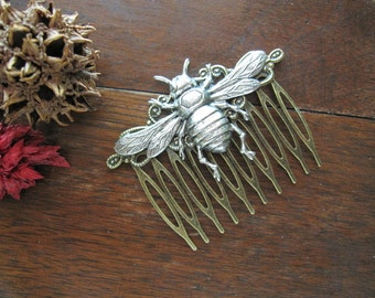 Bee Hair Comb, Silver Bee Comb, Nature Inspired, Victorian Bee, Woodland Bee, Insect, Bee Wings, Decorative Comb, Woodland Wedding, For Her
