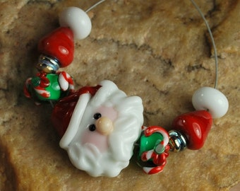 Glass Lampwork Beads, Christmas Beads, Sanda, CandyCanes, Christmas Lights SRA #940 by CC Design