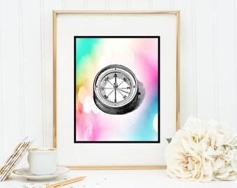 True North compass Instant Digital Download DIY Print yourself watercolor
