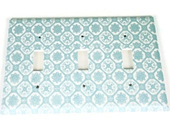 Light Blue and White Triple Switchplate Light Switch Cover in  Royal Family (256T)