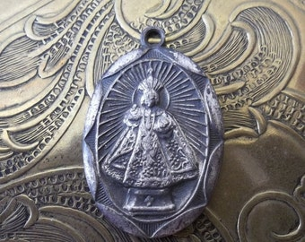 HUGE SALE Shabby And Tattered Miraculous Infant Jesus Of Prague Art Deco Medal Protection For Infants And Children & Flaming Sacred Heart Of