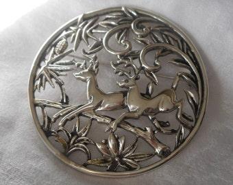 Large VINTAGE Reinder Pierced  Silver Metal Costume JEWELRY Brooch