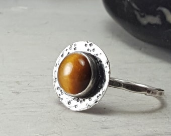 Tigers Eye Sterling Silver Ring Textured Tigers Eye Ring