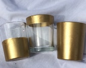 12 Metallic Metal Gold Votive Candle Holders Wedding Party Favors