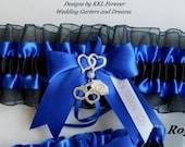 Police Officer Wedding Garter Double Heart Charm Handmade Royal Blue and Black Garter