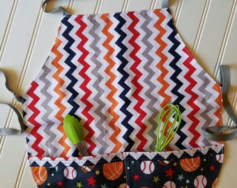 Kids-Aprons-Sports-Chevron-Chef-Art-Cooking-Kitchen-Baking-Play-Dough-Summer-Garden-Back-To-School-Smocks-Holiday-Birthday-Toddler-Gifts