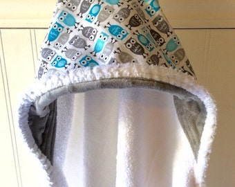 Baby-Towel-Personalized-Bath-Hooded-Towels-Kids-Boy-Boys-Owls-Gray-Minky-Dot-Beach-Terry-Swim-Suit-Cover-Up-Newborn-essentials-Shower-Gifts
