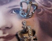 Frosted White Patina on Antique Copper plated Cast Crown Charms 673WHT x2