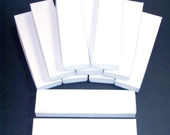Summer Stock Up Sale 20 Pack White Color Cotton Filled 8X2X1 Inch Size Retail Jewelry Gift Presentation Boxes