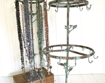 Halloween Stock Up Sale 2 layer tall french rustic bird jewelry stand with 21 hooks - distressed vintaged green