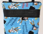"""Sugar Glider Bonding Pouch, Handmade, 8"""" by 8"""", Zippered & Lined, Blue Monkey Business Print Flannel"""