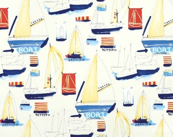 Sailboat Fabric - Covington McGregor White Multi - 1.5-Yard Piece - Yardage