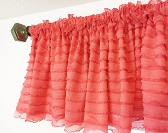 Coral Ruffled Curtain Valance - Coral Ruffle Window Treatment, Baby Girls Nursery, Coral Valance, Coral Ruffle Valance, Kitchen Valance