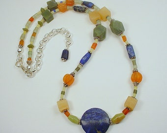 """Necklace  with Afghan Handmade Beads with Lapis Lazuli, Carnelian, Afghan Jade and """"Blond Onyx"""" with Bali Silver Beads and Spacers"""