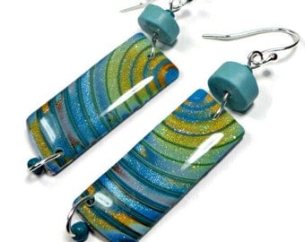 Turquoise Multi Dangle Earrings- polymer clay jewelry- Resin earrings- Polymer Clay Earrings- Ready to Ship- Gifts for Her