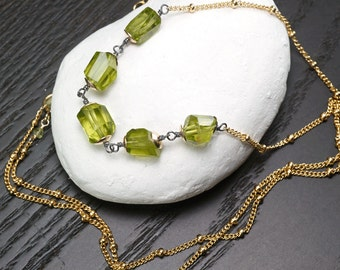 Peridot faceted nugget gemstone necklace, 14k Gold Filled layering necklace, August Birthstone, Gift for her, Green Gemstone Necklace