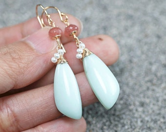 Light mint Green Chrysoprase, Rhodochrosite, Fresh water Pearls gemstone dangle earrings, 14k Gold Fill hooks, Gift for Her, Birthday Gift