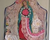 virgin de guadalupe - Altered Apron Lot Vintage Fabric - Collage Clothing - Wearable Folk Art + myBonny random scraps