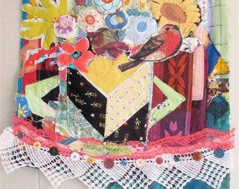FRESHLY PICKED Patchwork FLOWERS Bouquet -  Fabric Collage Assemblage  - Altered Folk Art Quilt -  mybonny
