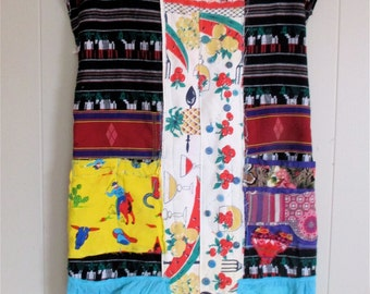 Southwestern MEXICAN FOLK ART Embroidery Dress + Wearable Fabric Collage Clothing +  Artsy Artisan + Vintage Recycled Materials  + myBonny